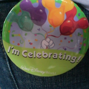 My sister's and my celebrating buttons in 2009